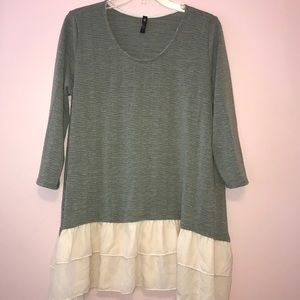 Green sweater top with ruffle bottom